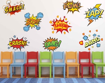 Fabric Superhero Comic Book Words Pow Zap Boom Smash Wall Stickers Comic Book Wall Decals Boys Repositionable Reuseable -  sc 1 st  Etsy & Comic book decals | Etsy
