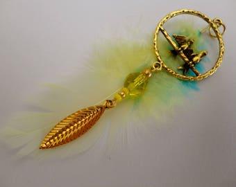 Sautoir bohème doré et plumes, envolée romantique
