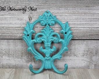 ANY COLOR: Fleur De Lis hook // cast iron hook // coat hook // towel hook // kitchen hook // key hook // aqua hook // aqua decor