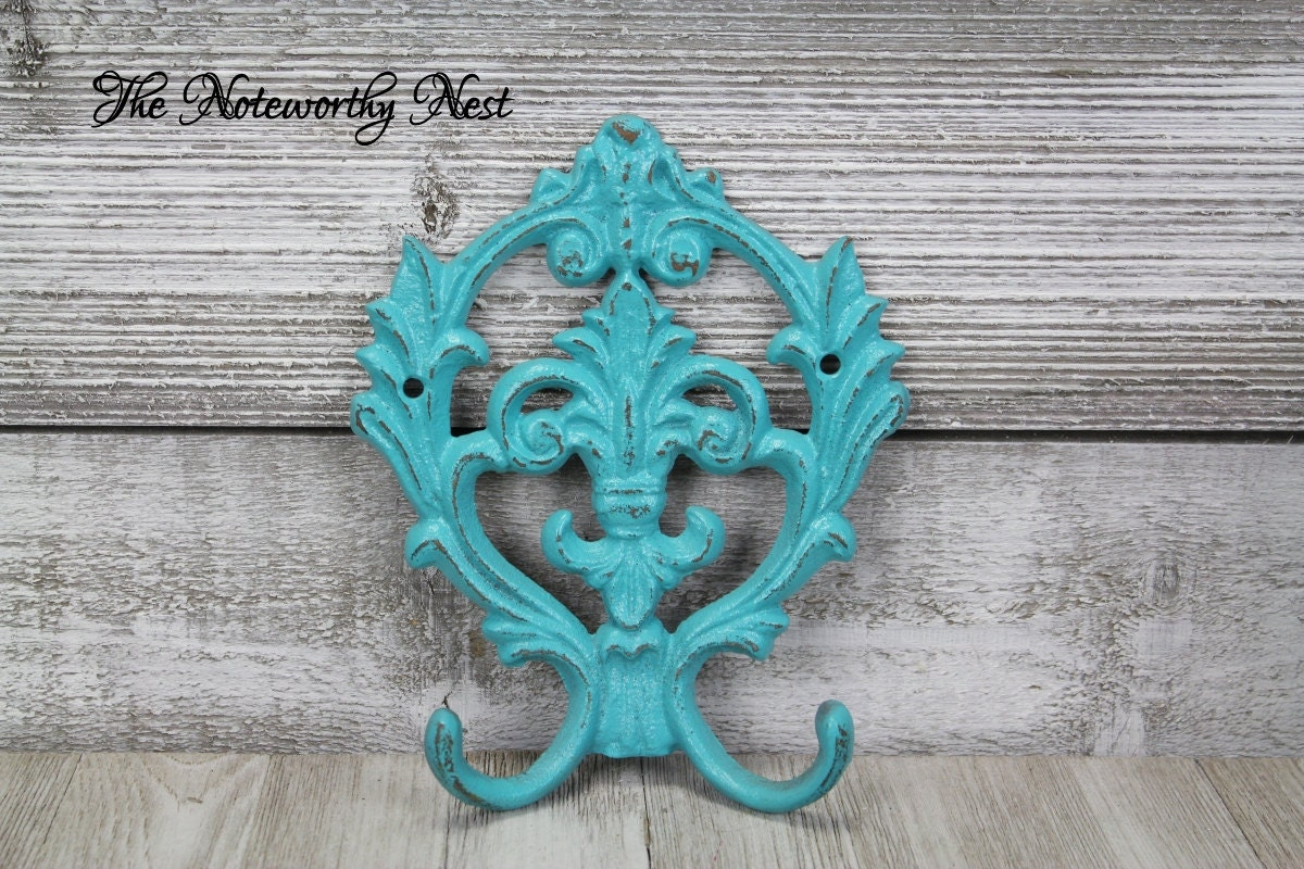 ANY COLOR: Fleur De Lis hook // cast iron hook // coat hook //