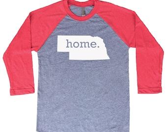 Homeland Tees Nebraska Home Tri-Blend Raglan Baseball Shirt