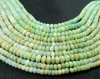 Natural Faceted Roundelle Peruvian Opal Semi Precious Gemstone Beads 15'' 6-8mm appx. 121.7 Ct.