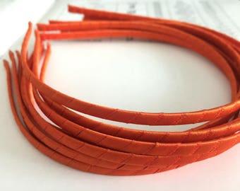10pieces orange satin metal hair headband covered 5mm wide