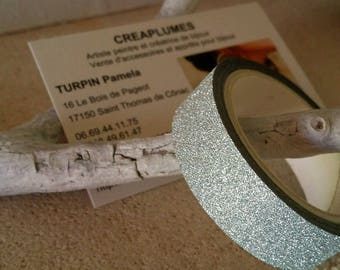 Set of 1 roll of 4 m silver glittery Japanese paper tape