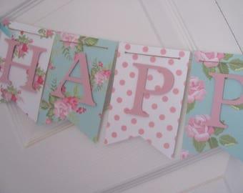 Birthday Banner, Happy Birthday Banner, Happy Birthday, Girl Banner 1st Birthday, Flower garden party, Flowers and Polka Dot banner