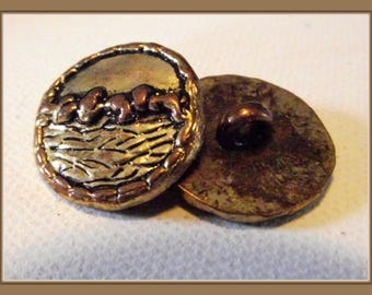 2 buttons look antique gold * Grand * 2.1 cm brown button 21 mm