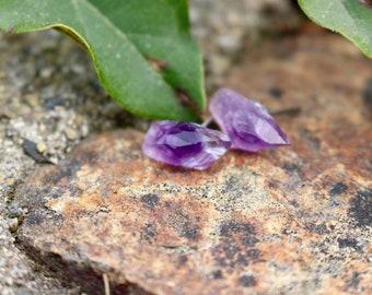 Amethyst Earrings   Minimalist Earrings   Stone Earrings   Raw Stone Earrings   Amethyst Earrings   Purple Earrings   Amethyst