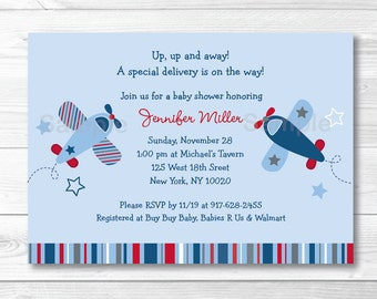 Cute Airplane Baby Shower Invitation / Airplane Baby Shower Invite / Airplane & Stars / Blue Airplane / Baby Boy / PRINTABLE A337