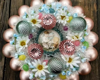 Victorian Style Pink & Blue Easter Ornament Wreath