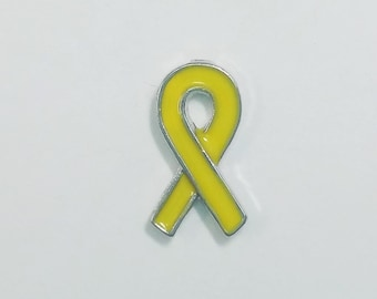 1 PC - Awareness Ribbon Yellow Enamel Silver Charm for Floating Locket F0285