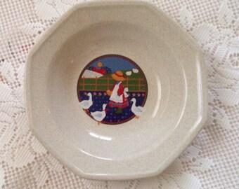 Stoneware Serving Bowl, Market Square Plain & Fancy Bowl, Vegetable Bowl, Vintage Bowl, Vintage Serving Bowl, Goose Girl, Sunbonnet Girl