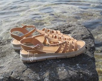 "Natural Color Greek Leather sandals - women's  greek sandals, authentic leather handmade sandals, stylish sandals - ""Ioli"""