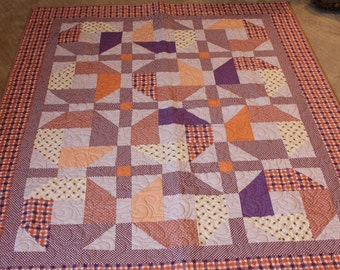 Handmade Quilt, Purple Quilt, Plaid quilt, Orange Quilt,  Modern quilt,Twin Quilt, free shipping