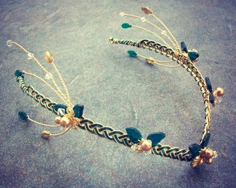 Elven Starburst Circlet Green and Gold