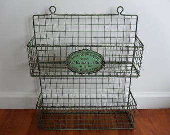 Vintage French Green Metal Wire 2-Tier Wall Basket Wall Rack