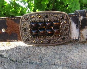 "1 3/8"" Burnout Italian Haircalf Belt. Etched Brass Buckle Hand Set with Tortoise & Swarovski Stones."