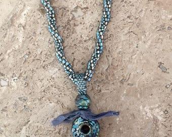 Beaded Blue Raku Pendant Necklace