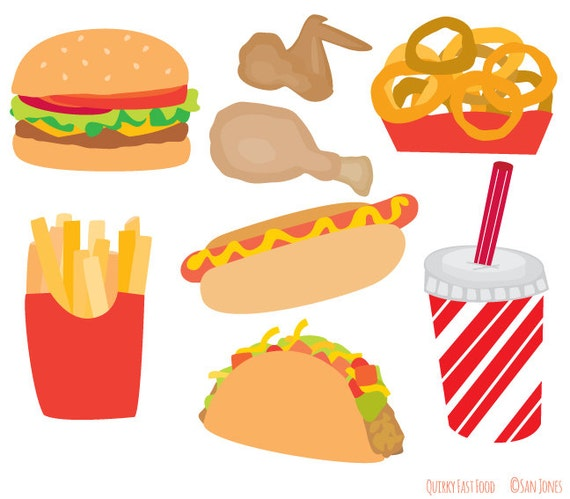 food clip art fast food clip art burger fries hot dog rh etsy com fast food clipart free fast food clipart black and white