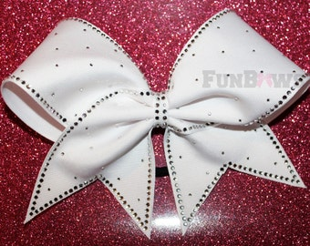 Classic White Bling  Allstar Cheer Bow by FunBows !
