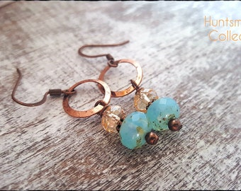 Earrings~Copper~Czech Glass~Gift~Aqua~Dangle Earrings~Hand Made~Jewelry~Birthday