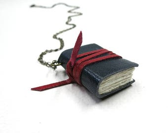 Mini diary on a chain, book pendant, necklace, tiny journal, mini leather notebook, handmade, paper-goods