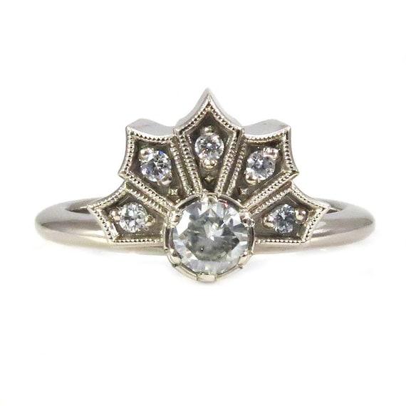 Diamond Crown Ring - 14k Palladium White Gold Modern Engagement - Forever Brilliant Moissanite or Diamond Center