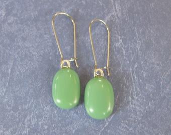 Green Earrings, Kidney Wire Earrings, Mineral Green Drop, Modern Trendy Fused Glass Jewelry - Sherri - 311 -4
