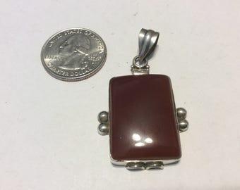 Vintage sterling silver carnelian pendant badn