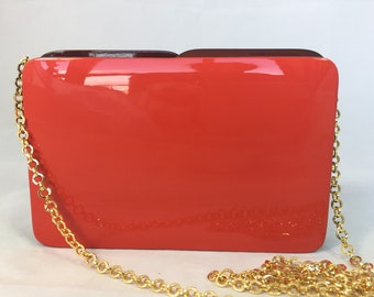 New Handmade Red Rectangular Minaudière Clutch Shoulder bag with Brown Accent