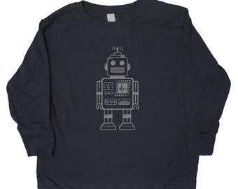 Kids Robot Long Sleeved Shirt - Kids Robot Shirt in Baby, Toddler, Kids Sizes - Boys or Girls Shirt - You choose ink color - Great Gift idea