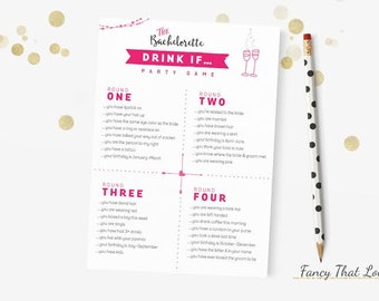 INSTANT DOWNLOAD -Bachelorette Party or Drink If Game - Bachelorette Party Game