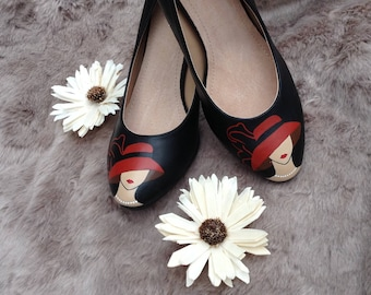 Handpainted heels (woman with a hat)