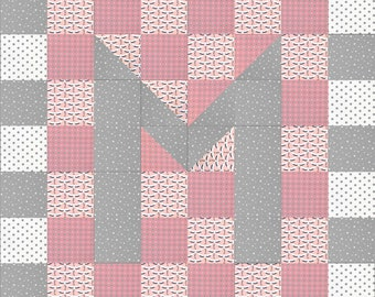 Monogram baby girl blanket//patchwork//hand made in cotton//personalized baby gift//initial