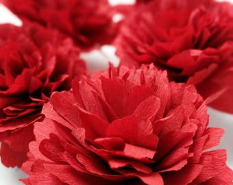 Paper Flowers - Half a dozen Paper Peonies - Red Charm - Gift
