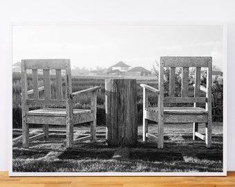 Bali Chairs, Black and White Photography Print, Printable Wall Art, Travel Photography, Gallery Wall, Engineer Print, Digital Download