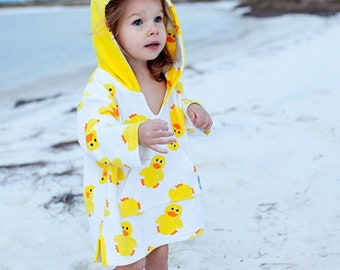 Duckie Cover Up - Beach Baby - Flamingo Party - Toddler Swim - Kids Cover Up - Rubber Duck Baby - Baby Bath Robe