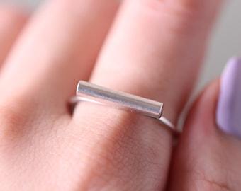 Silver Stacking Ring, Silver Bar Ring, Sterling Silver Ring, Silver Tube Ring, Made to Order, Statement Ring, Stack Ring, Geometric Ring