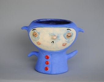 Blue Bob, (Desktop Ceramic Sculpture and Vessel).
