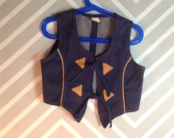 vintage cowboy western boho denim vest size 4-5 years
