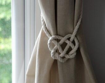 Cotton Rope Celtic Heart Curtain Tie-backs/ Nautical Style Curtain Ties/ Rope Tie backs/ Curtain Hold backs/ Shabby Chic Window Treatment
