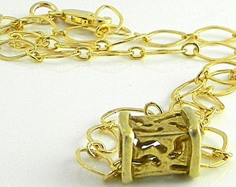 Vermeille Box Bead on Geometric links14kt gold filled chain twith solid 14kt gold clasp.