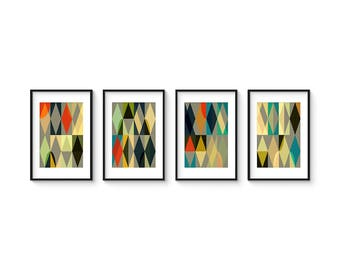 ENTWINE Set no.1 - Collection of (4) Giclee Prints - Geometric Mid Century Modern Abstract Art Prints