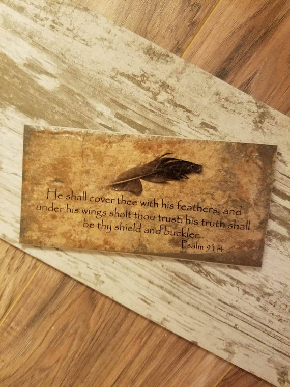 Custom Thin Brick Plaque Psalm 91:4 He shall cover you with