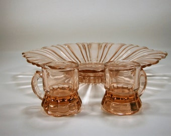 Pink Depression Glass Candy Dish and Shot Glasses, Pink Nut Dish, 2 Pink Shot Glasses, Assorted Vintage Glassware, Toothpick Holder, 1940's