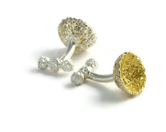 Gold Nest Cufflinks – Woven Mixed Metal Gold and Sterling Silver Cuff Links – Best Man Gift