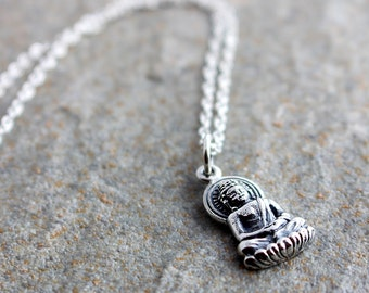 Silver buddha necklace meditation necklace be here now silver buddha necklace gold buddhist necklace buddha pendant buddha charm buddha lotus aloadofball Images