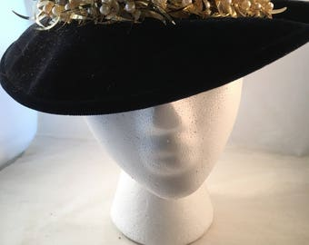 Navy velvet hat with gold and pearl trim