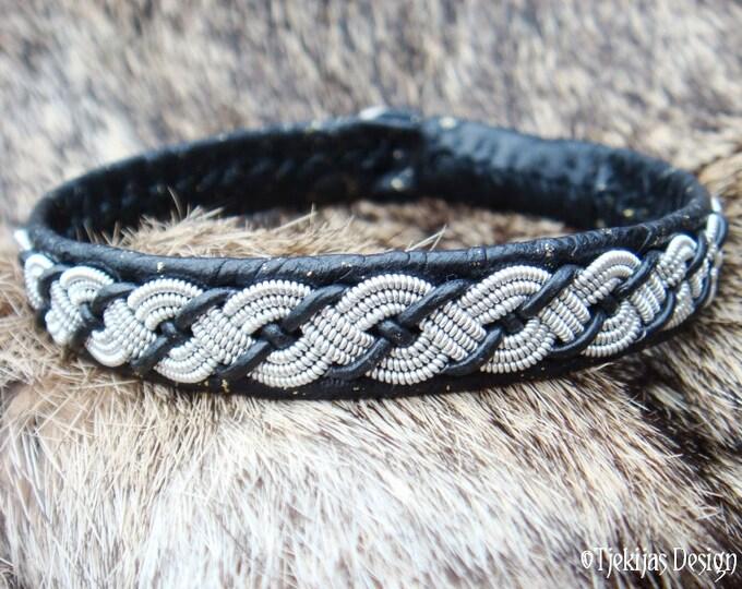 Traditional Tribal Lapland Sami Bracelet VALHAL Silksoft Leather Bracelet with Pewter Braid - Custom Handmade Natural Elegance