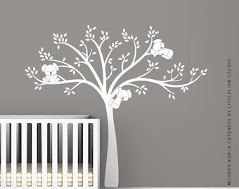White Modern Koala Cuteness Wall Decal by LittleLion Studio as seen on Project Nursery