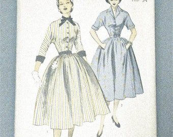 SALE 20% OFF 1950s Advance 6114 Vintage Sewing Dress Pattern Fitted Bodice  Full Skirt Uncut Factory Folded  Bust 31